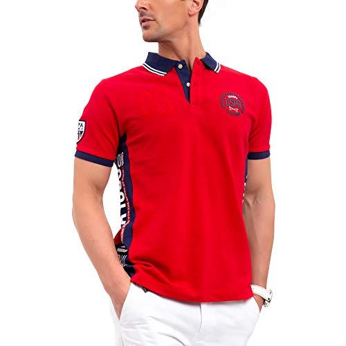 - U.S. Polo Assn. Mens USA Color Block Patch Pique Polo Shirt - Engine Red, Small