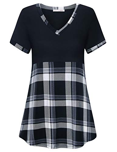 Messic Women Short Sleeve Tops Casual, Ladies V Neck T-Shirts Lightweight Loose Fit Tops and Blouses Dressy 2019 Color Block Plaid Shirts Summer Knitted Boutique Clothing Black Grey,XL