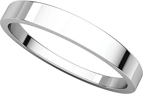 (Womens 18K White Gold, Flat Tapered Wedding Band 3MM (sz 6) )