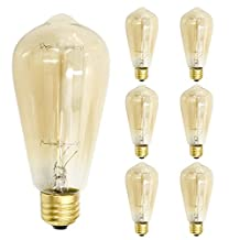 Vintage Edison Light Bulb 6 Pack by Micro Cube 60W 110V E27 E26 Base Squirrel Cage Filament Incandescent Dimmable