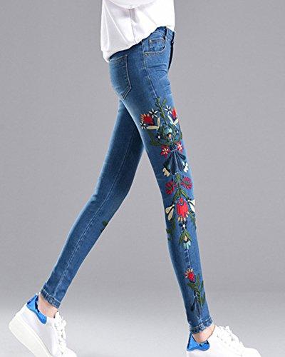 Slim Crayon Denim Femme ZhuiKun Pantalons Brod Clair Bleu Pants Jeans Leggings Collant q4XHZRawx