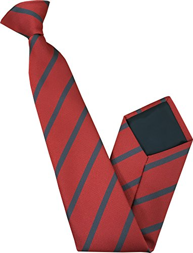 Men's Clip On Tie - Red with Grey Stripe
