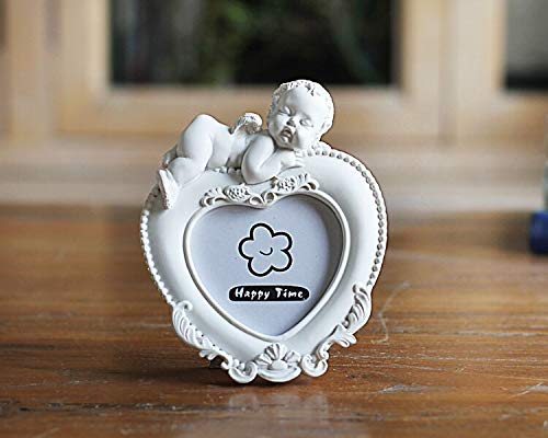 - Glass figurines Picture Frame - White Mini Picture Frame for Lovely Baby,Heart Shaped Photo Frames Home Decor,Porta Retrato Moldura Creative Wedding Photo Frame