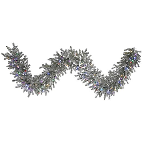 Led Artificial Christmas Garland - Vickerman Frosted Sable Artificial Garland with 100 Multi-Colored LED Lights, 9' x 14