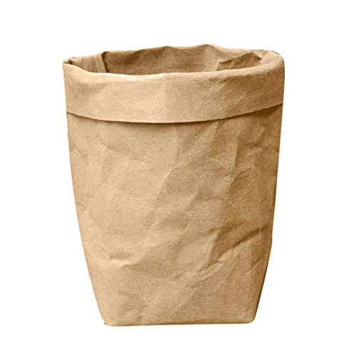 (Reuse Washable Kraft Paper Bag Multifunction Home Storage Bag (Brown))