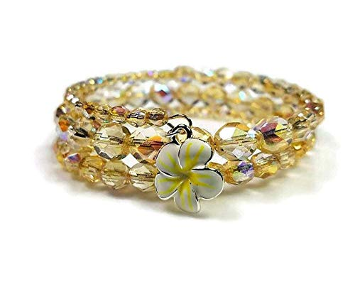 Czech Fire Polished Yellow Rainbow Beaded Memory Wire Bracelet with Tropical White And Yellow Enamel Plumeria Flower Charm, 2-1/2 Wraps Czech Glass Memory Wire Bracelet