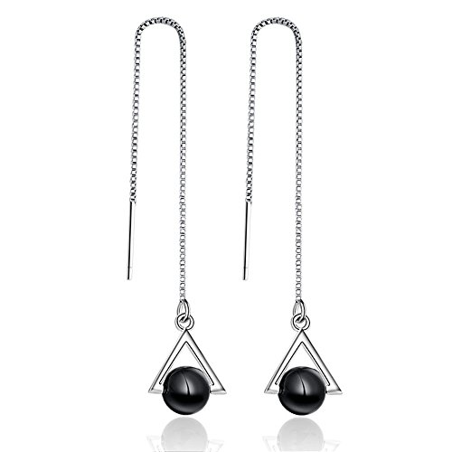 [Womens Silver Tassel Design Black Natural Agate Triangle Dangle Earrings] (Different Types Zombie Costumes)