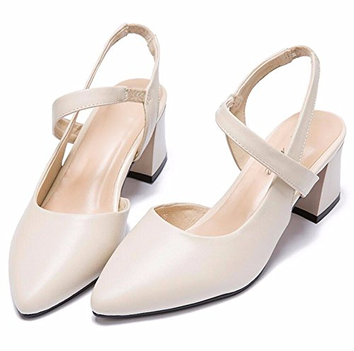 La Los GTVERNH Cabeza Zapatos El Medio Y Solo Baotou Sandalias Lado Rough Verano Tacón Primavera Beige De Tacon Mujer Puntiaguda Aire Zapatos gnH0qwg