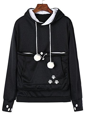 Anbech Unisex Big Kangaroo Pouch Loose Fleece Hoodie Long Sleeve Pullover Little Pet Cat Dog Holder Carrier Sweatshirts (Black-Fleece, ()