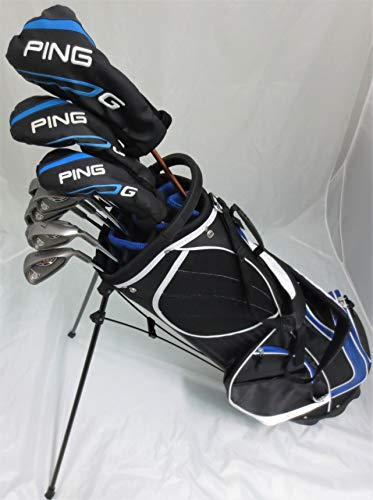 Ping Golf Mens Complete Set Driver, Wood, Hybrid, Irons, Putter, Clubs & Deluxe Stand Bag Regular Flex