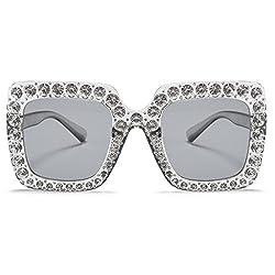 Women Oversized Rhinestone Square Sunglasses