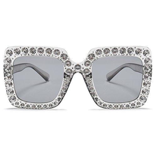Armear Women Rhinestone Sunglasses Oversized Square Gradient