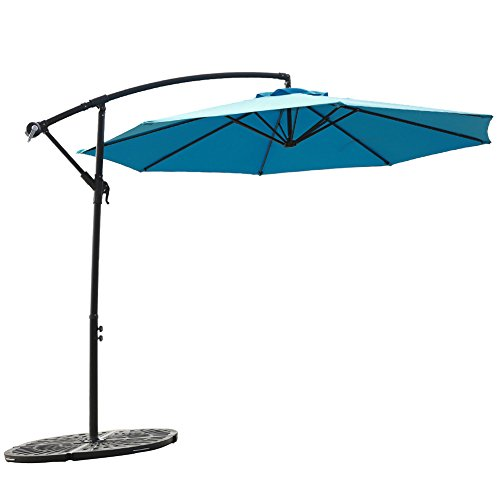 FLAME&SHADE 10' Hanging Offset Outdoor Umbrella, Cantilever Patio Umbrella with Cross Base, Crank Lift, Large Round, Aqua Blue (Umbrellas Deck Large)