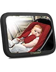 Baby Car Mirror - Safety Car Seat Mirror For Rear Facing Infant - Wide Shatterproof, Crystal Clear Car Baby Mirror - Carseat Mirrors - Fully Assembled Baby Car Mirror - Baby Back Rear View Mirror (Matte Black, Large)