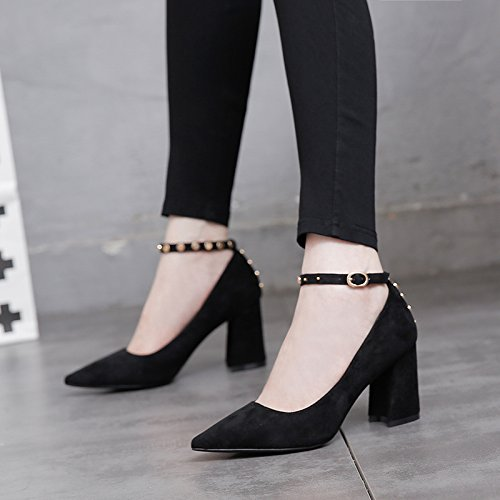 MDRW-Lady/Elegant/Arbeit/Freizeit/Feder Damenschuhe 8-Cm-High Heels Einzelne Schuhe Scharfe Kopf Rauhe Rauhe Kopf Ferse Schnalle Schwarz Trend 34 0cd99c