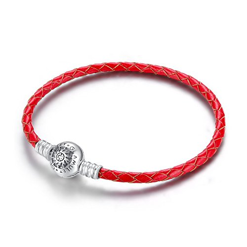 Glamulet Jewelry - 22 cm Red Leather Bracelet -- 925 Sterling Silver -- Fits Pandora Charm