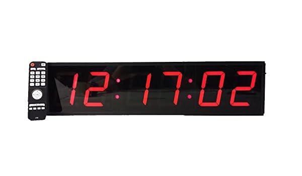Reloj digital de pared extragrande, led, 10 cm, cuenta atrás, conteo ascendente, temporizador de intervalos, cronómetro, mando a distancia: Amazon.es: Hogar