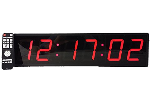 Extra Large Digital Wall Clock - 4 LED Count Down/Up/Interval Timer/Stopwatch Remote Control Wall Clock