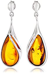 Honey Amber Sterling Silver Classic Stud Teardrop Earrings