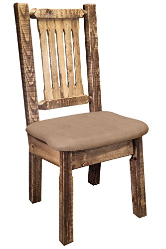 (Montana Woodworks MWHCKSCNSLBUCK Homestead Collection Dining Side Chair, Stain & Clear Lacquer Finish with Upholstered Seat, Buckskin Pattern)