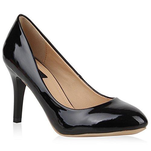Damen Klassische Pumps Lack Stiletto Schuhe Metallic High Heels Elegante Abendschuhe Glitzer Pailletten Zierperlen Strass Partyschuhe Flandell Schwarz