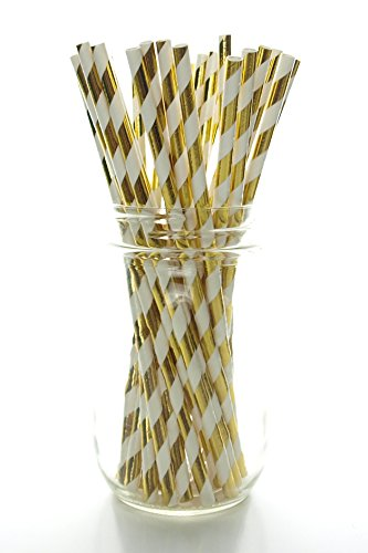 Gold Shiny Foil Straws 25 Pack Striped Christmas