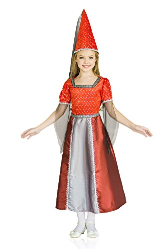 Kids Girls Wizard Halloween Costume Fairy Godmother Magician Dress Up & Role Play (6-8 years, red, grey, black)