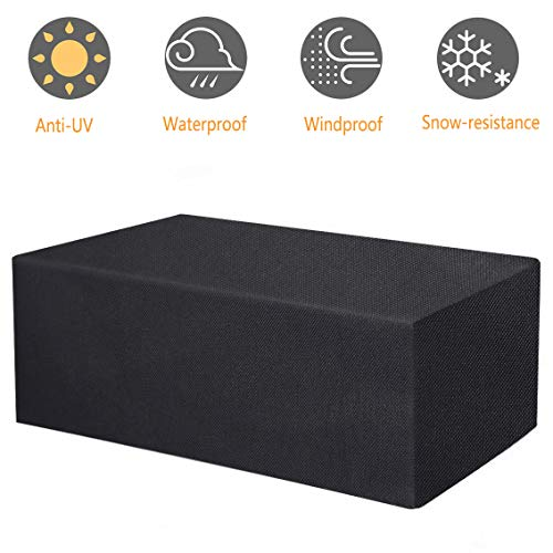 TEPSMIGO 600D All Weather Extra Large Patio Outdoor Pool Storage Deck Box Cover 62' L x 30' W x 26' H Compatible with 150 Gallon Keter Storage Deck Box Series, Heavy Duty Waterproof, Black