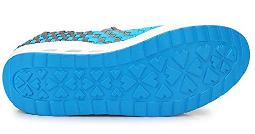 Woven Hiking Elastic GFONE Casual On Trainers Shoes Wedge Walking Women's Platform Loafers Slip Blue1 Sneakers 4npSIUp