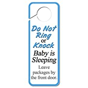 Do Not Ring or Knock Baby is Sleeping Leave Packages by the Front Door Plastic Door Knob Hanger Sign