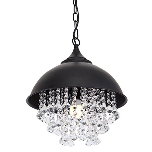 Black Pendant Light With Crystals in Florida - 6
