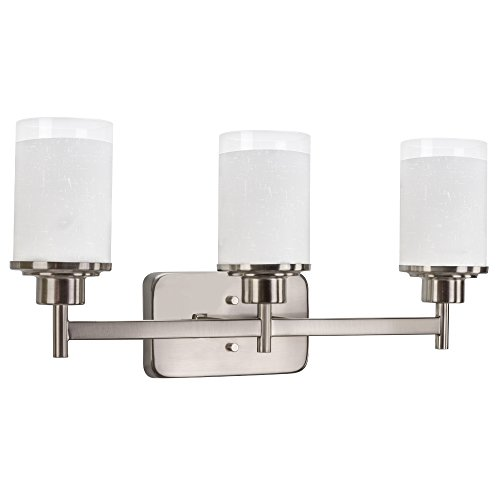 Revel Windsor 22'' 3-Light Modern Vanity/Bathroom Light, Brushed Nickel finish & Frosted Linen Glass Shades by Kira Home