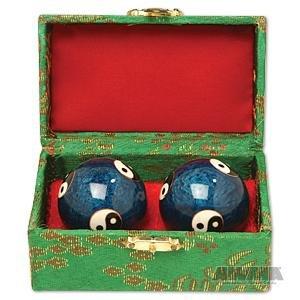 """Chinese Cloisonne Balls - Yin & Yang Baoding Balls size 1-3/4"""""""