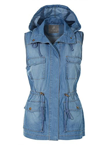 Drawstring Anorak - LE3NO Womens Anorak Military Tencel Sleeveless Drawstring Denim Vest With Pockets