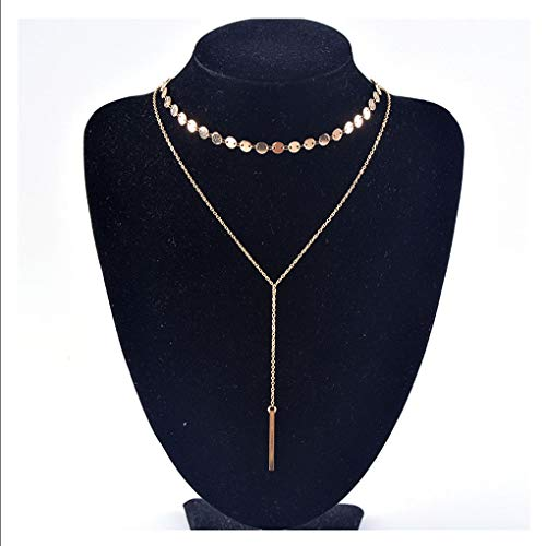Yfe Vertical Bar Necklace Double Layered Sequin Necklace Choker for Women and Girls Y Drop Necklace (Gold Sequin and ()