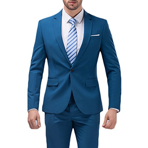 YIMANIE Men's Solid 3-Piece Suit One Button Formal Jacket Pants Vest Set Blazers