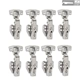 LOOTICH 110 Degree Kitchen Cabinet Cupboard Wardrobe Door Stardand Hinges with Integrated Soft Closing Mechanism Full Overlay Straight Arm Pack of 8