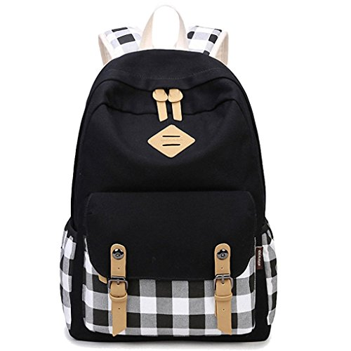 Artone Plaid Canvas Backpack With Laptop Compartment Fit 15