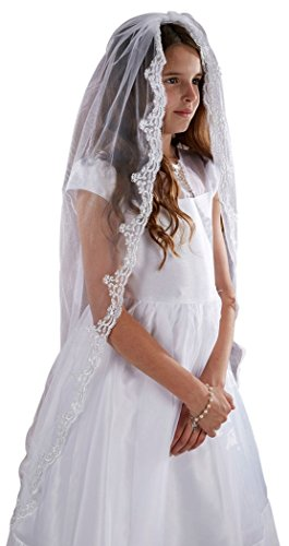 Holy Communion Tiaras (Sacred Traditions Girls Tulle Lace Edge Mantilla First Communion Veil, White, 45)