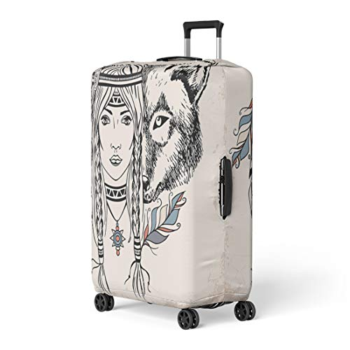 (Semtomn Luggage Cover Tattoo Native American Girl Wolf Vintage Retro Engraving Sketch Travel Suitcase Cover Protector Baggage Case Fits 22-24)