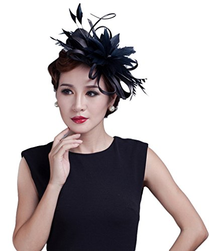 La Vogue Women Feather Fascinators Large Satin Wedding Hat Hair Accessory Black