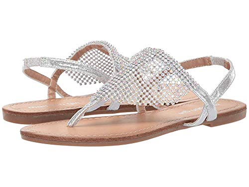 Madden Girl Women's Sharre Silver Metallic 8 M - Metallic Sandals Jewel