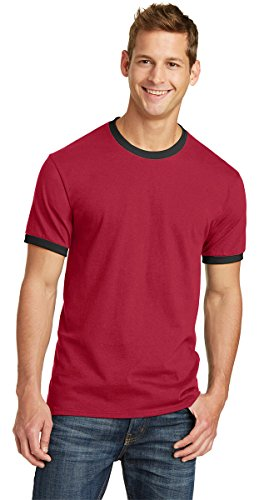 Port & Company Mens 5.4-oz 100% Cotton Ringer Tee PC54R -Red/ Jet Bla XL