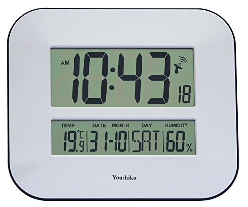 Jumbo LCD Radio Controlled Wall Clock with Temperature and Humidity display...