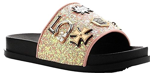 Cape Robbin Moira-25 Pink Slides Flip Flop Glitter Metal Pendant Ornament Sandal (8)