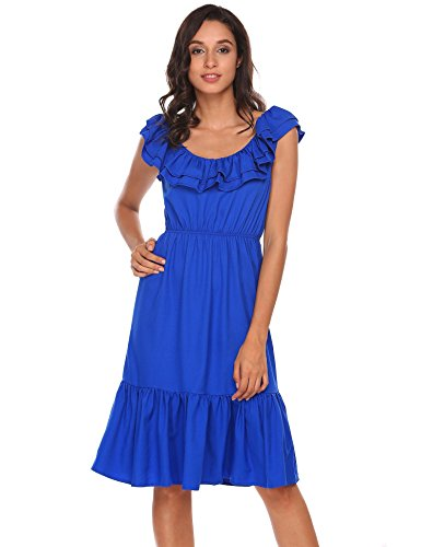 Sleeveless Fit Midi Flare Neck Ruffles ACEVOG Royal Blue Swing and Round Women's Dress B1wnaT