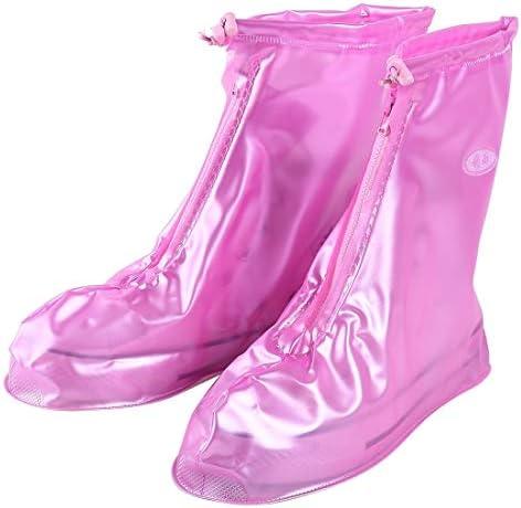 男女兼用 ファッションPVCノンスリップ防水太い底の靴カバーサイズ:S(ピンク)