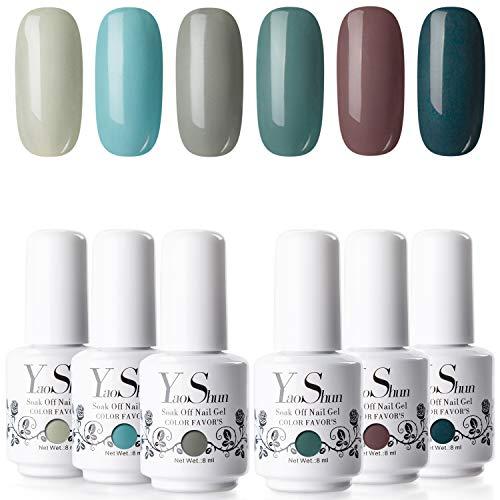 YaoShun Gel Polish - Gel Polish Set Soak Off Nail Gel UV Gel Cool Color Series French Manicure Gel Gift Box Gel Polish