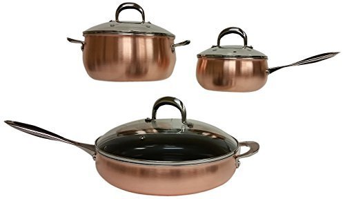 DellArte Luxury Collection Stainless Steel Cookware Set 6 Piece Copper by DellArte Luxury Collection