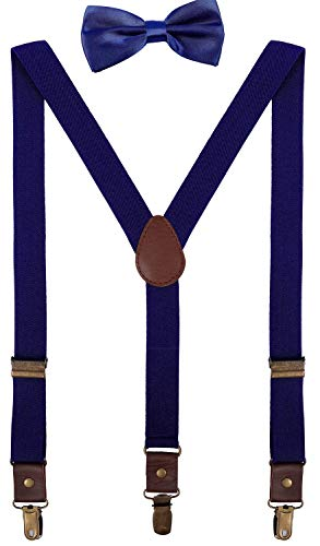 ORSKY Big Kids Suspenders and Bow Tie Adjustable with Copper Clips 40